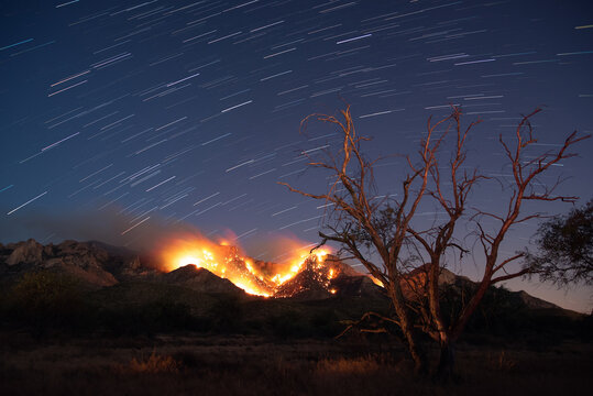 Bighorn wildfire in the desert mountains at night