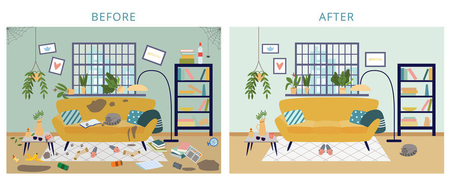 Dirty and clean room before and after cleaning flat cartoon vector illustration.