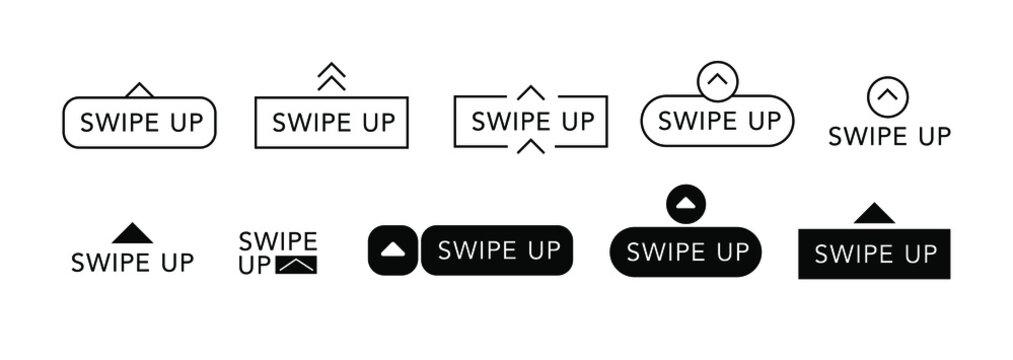 swipe up vector Insta stories icon eps 10. Insta stories icon swipe up . Insta stories swipe button black swipe up icon