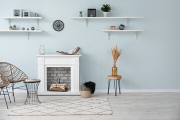 Wall Mural - Modern fireplace with shelves in interior of room