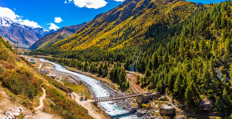Serene Landscape of Baspa river valley near Chitkul village in Kinnaur district of Himachal Pradesh, India. It is the last inhabited village near the Indo-China border.