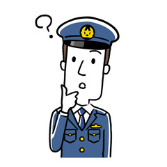 イラスト素材:若い男性警察官、疑問を持つ