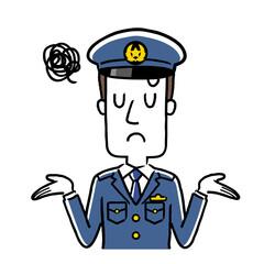 イラスト素材:若い男性警察官、呆れた、困った表情