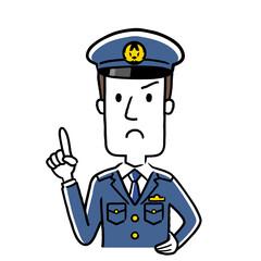 イラスト素材:若い男性警察官、注意を促す