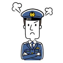 イラスト素材:若い男性警察官、怒る