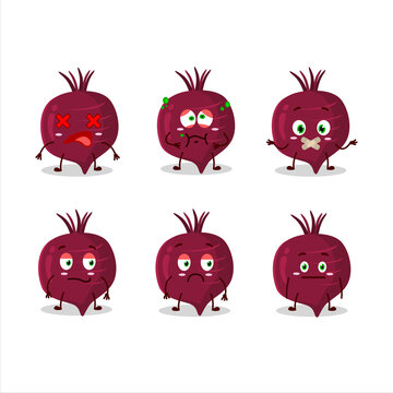 Beet root cartoon character with nope expression