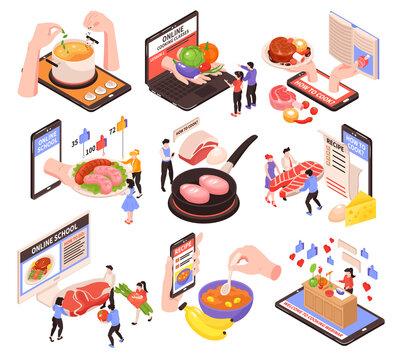 Online Cooking School Isometric Set