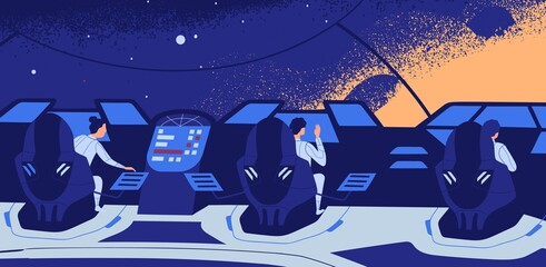 Group of astronauts sitting at control panel during spaceflight vector flat illustration. Male and female crew members travel in open space. Cosmonauts inside of interstellar spacecraft or spaceship