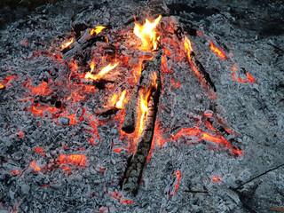 Glowing embers of burning wood log fire