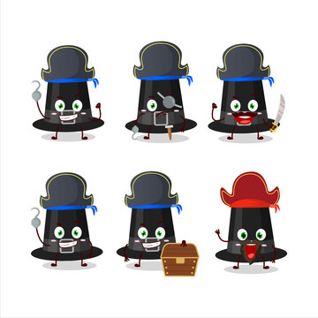 Cartoon character of black pilgrims hat with various pirates emoticons