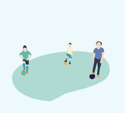 Children return practice to football training on field post coronavirus.Keep social distancing to prevent transmission of the covid-19 virus in the New Normal.