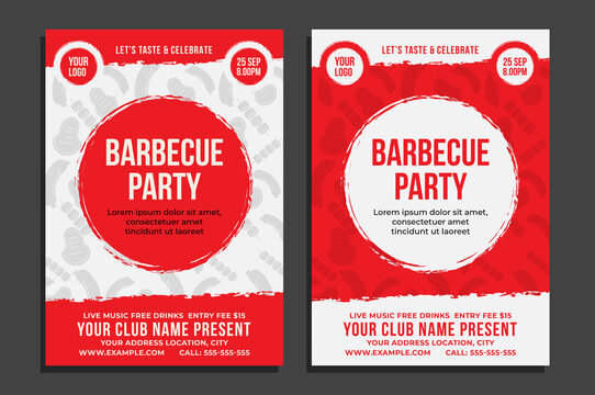 BBQ Party Flyer, Barbecue Poster, Food Flyer