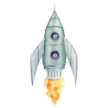 Watercolor astronomy spaceship rocket
