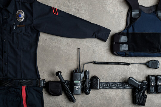 Police Officer equipment from above