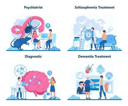 Psychiatrist concept set. Mental health diagnostic. Doctor treating