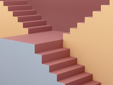 3d rendering. Stairs in a minimalist interior with modern geometric style. Autumn colors background for banners or product presentations. Architectural block,  abstract background, fashion podium.