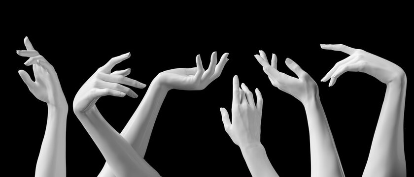 Mannequin hands set, isolated female hand white sculptures elegant gestures isolated 3d rendering concept