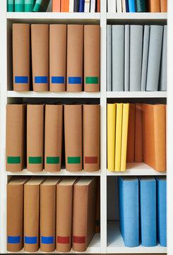 Colorful books in a bookshelf