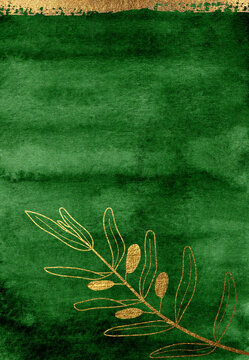 Watercolor deep green background with golden elements. Beautiful emerald texture with gold floral elements. Hand drawn high resolution texture for posters, postcards, prints, invitations and other