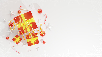 Merry Christmas wishes with blank space for text, Xmas banner, top view on white background. Gift boxes, christmas ball, stick and stars decoration. Horizontal poster, text in Brazilian Portuguese.