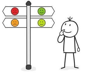 Strichmännchen mit Smiley Schild positive oder negative Richtung