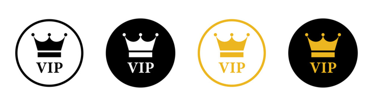 VIP vector icon set on white background. Gold and black luxary badge collection.