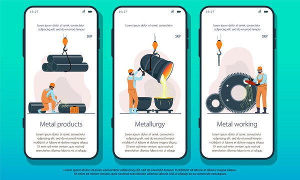 Metallurgy Industry landing page showing Metal Products, Smelting and production and manufacturing or Metalworking, colored vector illustration