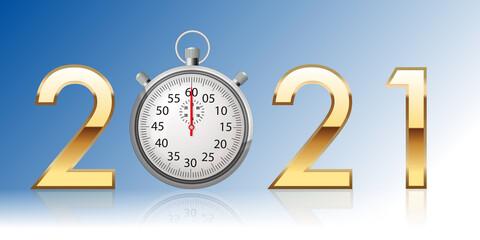 Une carte de vœux 2021 sur le thème du temps, avec un chronomètre pour symboliser la vitesse dans le sport ou la performance dans l'entreprise.