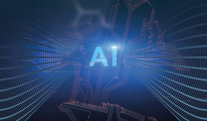 Artificial Intelligence. Futuristic Technologic Background With AI Lettering And Microchip Connections