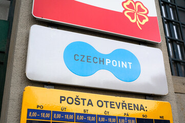 Czech Point, Brno, Czech Republic / Czechia - September 19, 2020: Symbol, sign and brand logo on signboard.