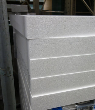 Styrofoam panels in a warehouse, the concept of building heat-saving houses