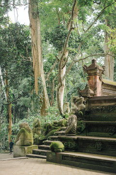 Monkey statues on Bali island
