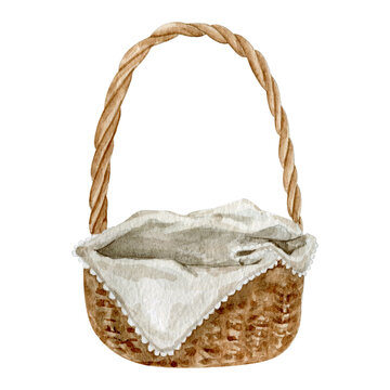 Watercolor straw basket with white napkin