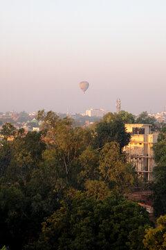Hot air ballon above city of Agra India
