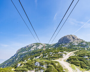 View from the Dachstein Krippenstein Cable Cars Obertraun in Austria.