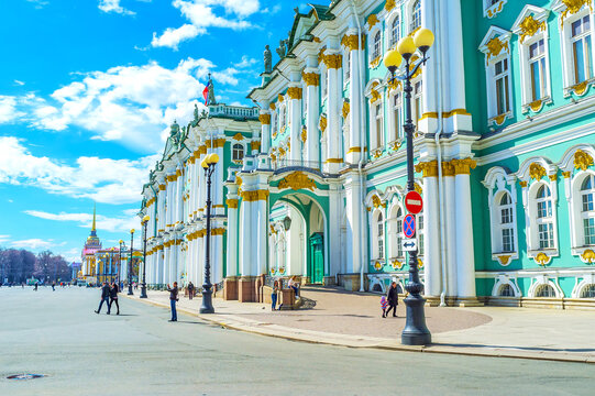 The frontage of Winter Palace in Saint Petersburg, Russia