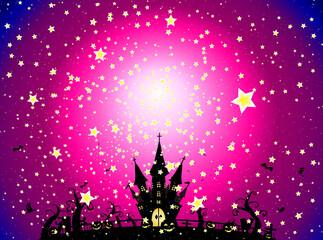 ハロウィン 星空の下のお城 ピンクVer