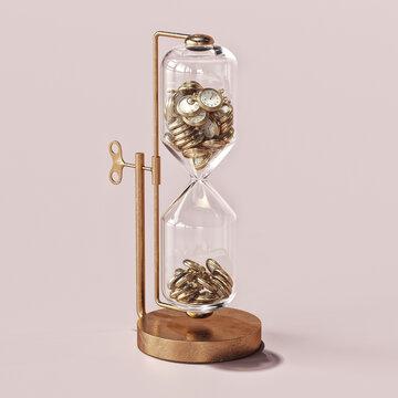 Hourglass containing miniature clockfaces