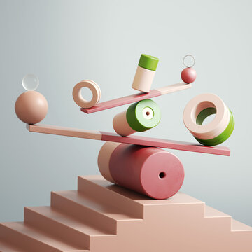 Group of abstract shapes balancing on boards