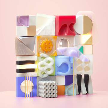Composition of cubes of different materials