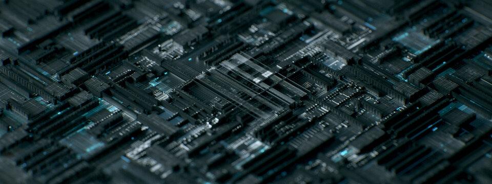 Macro shot of computing hardware