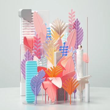 Arrangement of colorful plastic plant shapes