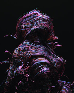 Multicolored wires in abstract shape