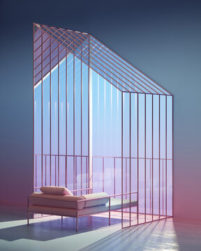 Rendering of lounge chair in building frame