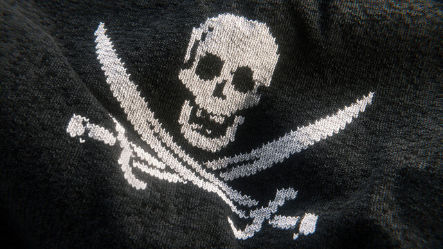 Woven skull and crossed swords