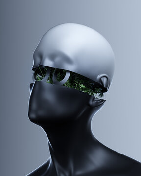 Humanlike head split to reveal robotic inner workings