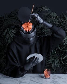 Artist looking in mirror to paint brain