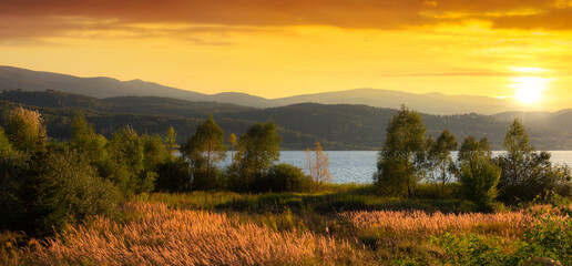 Beautiful sunset at the lake in Karkonosze Mountains, Poland