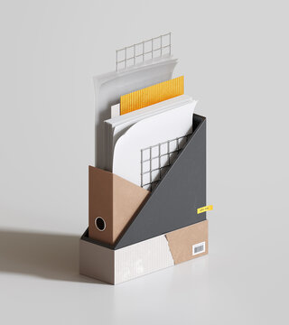 Magazine file filled with papers