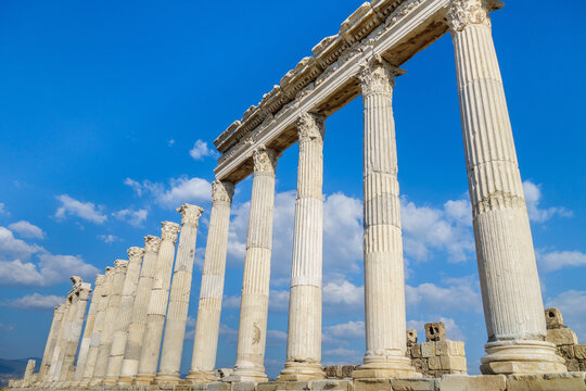 Close up view onto street colonnade in Laodicea, ancient city near Denizli, Turkey. All columns made in Corinthian order. City is included in UNESCO World Heritage Tentative List